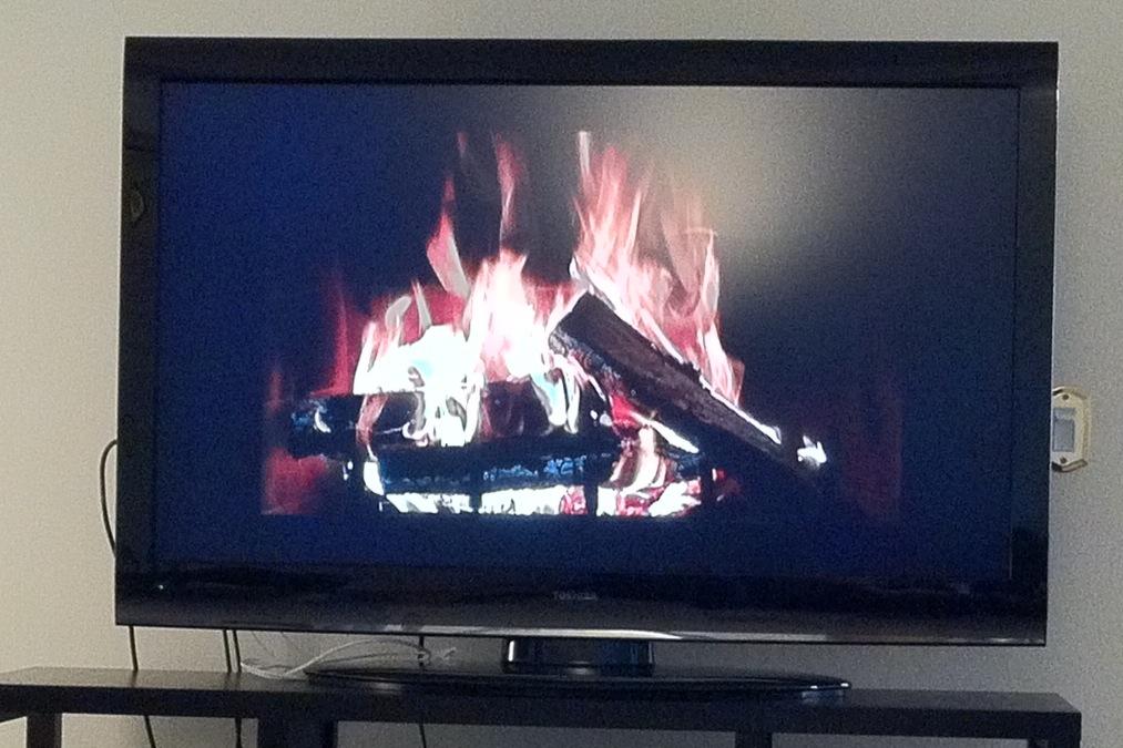 Yule Log on TV