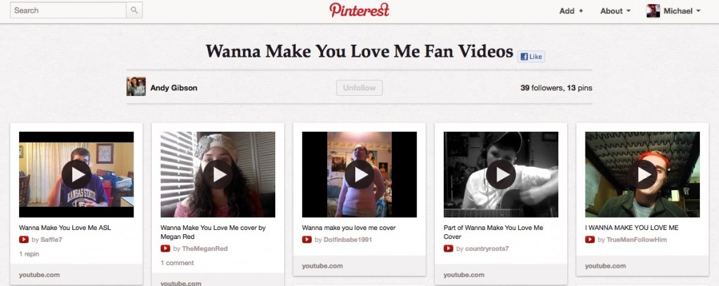 Pinterest Fan Video Board